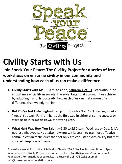 Second Series of Speak Your Peace Workshops